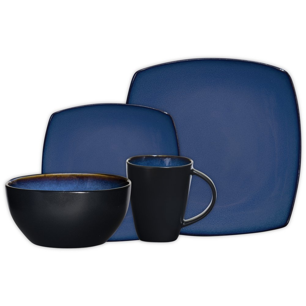 Gibson Home Soho Lounge Red Square 16-Piece Red Dinnerware ...
